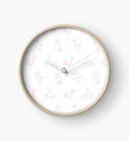 Hand Drawn Winter Flowers Soft Pink and White Clock