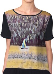 The boat in the lake Chiffon Top