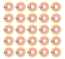 Pink glazed donut pattern Photographic Print