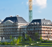 Panoramic view of a building construction Sticker