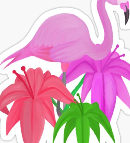"""Frolic"" - Flamingo and Flowers  Sticker"