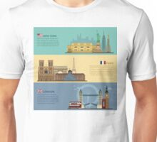 Set of Horizontal Travel Banners - New York, Paris and London. Each City is represented in its Famous Buildings. Vector illustration in flat style Unisex T-Shirt