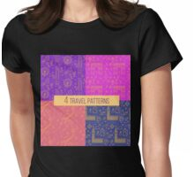 Travel Seamless Patterns Set: London and Paris. Vector backgrounds for decoration Womens Fitted T-Shirt