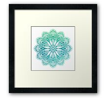 Turquoise Watercolor Etched Mandala  Framed Print