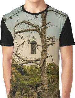 Lighthouse Behind An Spooky Tree | Fire Island, New York Graphic T-Shirt