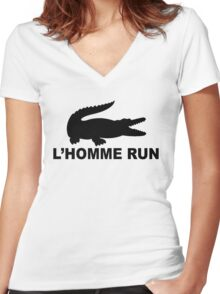 L'Homme Run Women's Fitted V-Neck T-Shirt