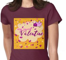 Valentine's Day Greeting Card. Lettering My Sweet Valentine Womens Fitted T-Shirt