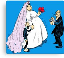 Fancy Bride And Groom At Wedding Canvas Print