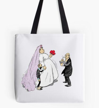 Fancy Bride And Groom At Wedding Tote Bag