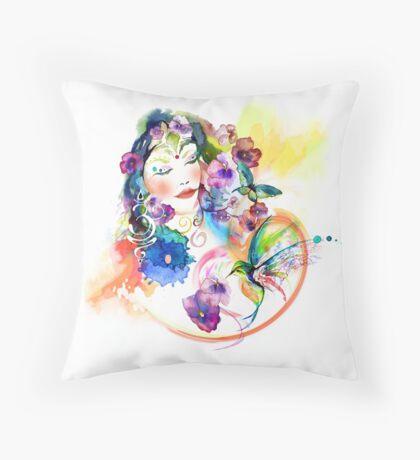 Watercolor Gaia in the Garden  Throw Pillow