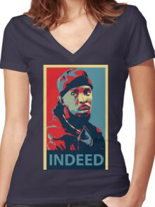Omar The Wire Indeed Women's Fitted V-Neck T-Shirt