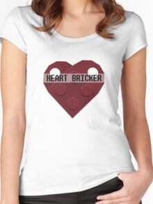 Valentines Day Toy Brick Heart Valentines Charm For Boys Dark Red Women's Fitted Scoop T-Shirt
