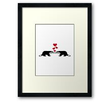 Badger love hearts Framed Print