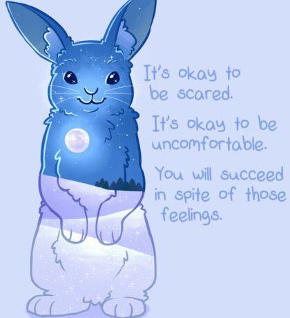 """It's Okay to Be Scared"" Night Snow Rabbit Sticker"