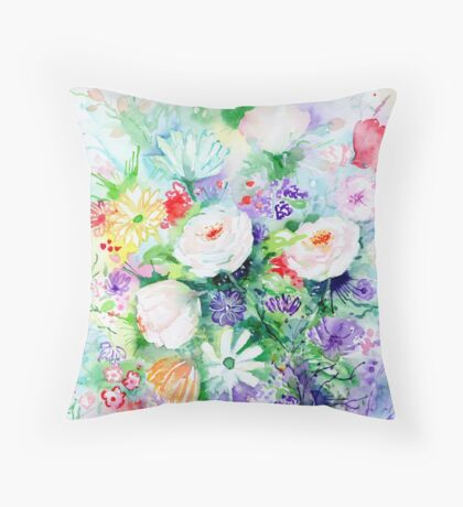 Watercolor Good Mood Flowers Throw Pillow