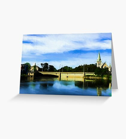 Small town with church on river bank Greeting Card