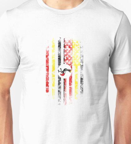 Uganda and America Flag Combo Distressed Design Unisex T-Shirt