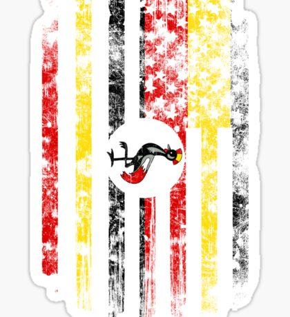 Uganda and America Flag Combo Distressed Design Sticker