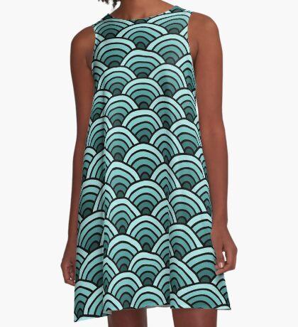 Pretty Green Waves A-Line Dress