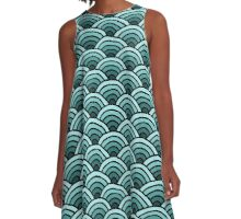 Pretty Green Waves A-Line Dress