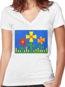 Flower Garden Women's Fitted V-Neck T-Shirt