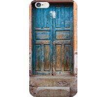 Blue door against Orange iPhone Case/Skin