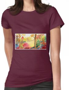 Forest Fall Painting Art Print Fine Art Print from Watercolor Painting Colorful Fall Forest Painting Art Modern Wall Art Womens Fitted T-Shirt