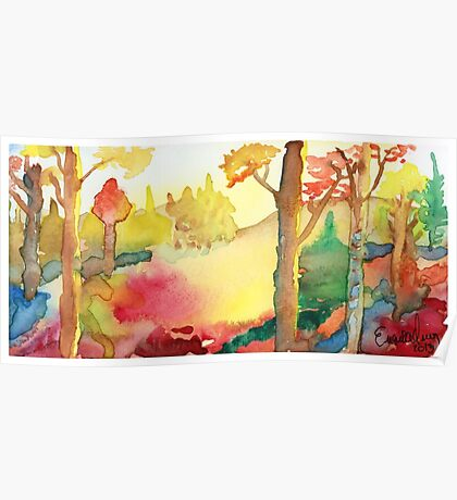 Forest Fall Painting Art Print Fine Art Print from Watercolor Painting Colorful Fall Forest Painting Art Modern Wall Art Poster