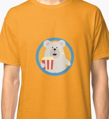 Polar Bear eating Popcorn with circle Classic T-Shirt