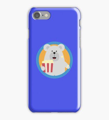 Polar Bear eating Popcorn with circle iPhone Case/Skin