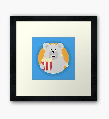 Polar Bear eating Popcorn with circle Framed Print