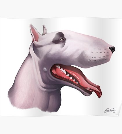 English Bull Terrier Caricature Poster