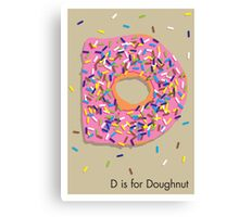 D is for Doughnut Canvas Print