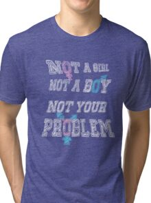 Nonbinary Trans Pride - Black Tri-blend T-Shirt