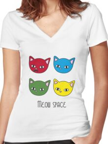 Meow space Women's Fitted V-Neck T-Shirt