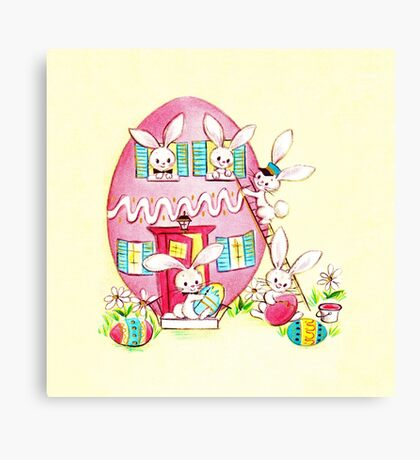 A Very Vintage Easter - Reimagined, Retro, Easter, Holiday, Card, Bunnies, Bunny, Rabbit, Bun Bun, Egg, Eggs, Colored, Dyed, House, Home, Pastel,  Canvas Print