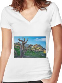 Pruned trees and the Monastery of Santa María Magdalena.tif Women's Fitted V-Neck T-Shirt