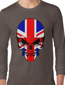Skull with British Flag Long Sleeve T-Shirt