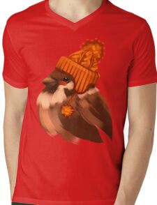 Cute sparrow bird in a winter knitted hat. Mens V-Neck T-Shirt