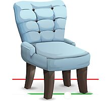 Glitch furniture chair blue leather dining chair Photographic Print