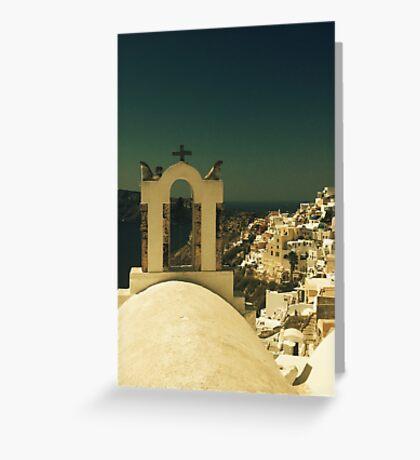 santorini Oia view with cross Greeting Card