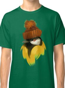 Cute bird in a winter knitted hat Classic T-Shirt
