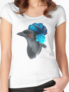 Cute bird in a winter knitted hat Women's Fitted Scoop T-Shirt