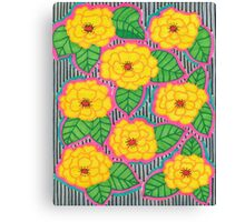 Yellow Flowers with Silver & Black Background Canvas Print