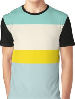 Stripes aqua, yellow and light blue Graphic T-Shirt