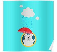 Polar Bear in the Rain Poster