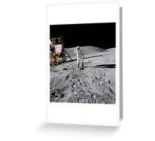 Astronaut salutes the American flag during an Apollo 16 moonwalk. Greeting Card