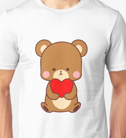 Cute Big Brown Bear Red Heart Valentine Gift  Unisex T-Shirt