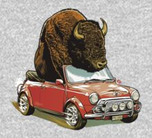 Bison in a Mini. Kids Tee