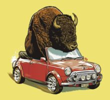 Bison in a Mini. Baby Tee